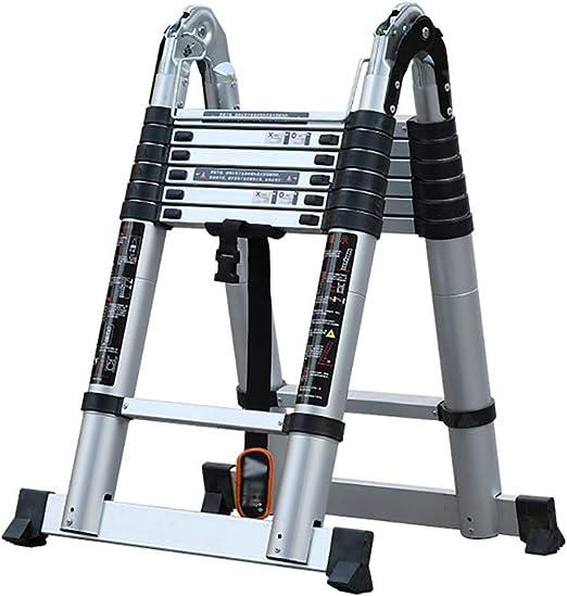 Escaleras plegables aluminio Escalera telescópica de aluminio, Escalera telescópica extensible con bloqueo de resorte, Escalera telescópica EN131, Acanalado antideslizante Capacidad de 330 libras, Múl: Amazon.es: Hogar
