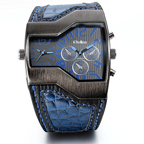Jewelrywe Military Mens Watch Dual Quartz Blue Leather Wristwatch for Boyfriend, Valentine's - Square Face Men