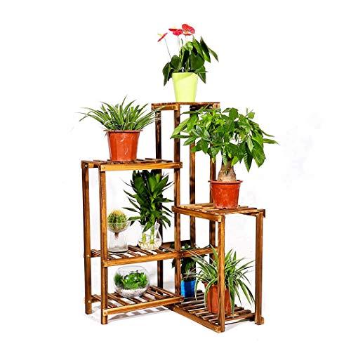 Six Tier Corner Plant Stand Shelf Wood Flower Rack Planter Bonsai Pots Displaying Shelves for Balcony Patio Garden Yard