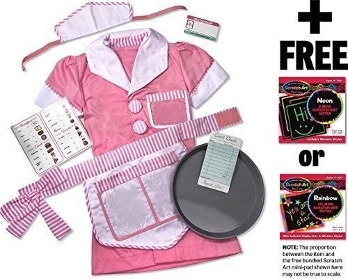 (Waitress: Role Play Costume + Melissa & Doug Scratch Art Mini-Pad Bundle)