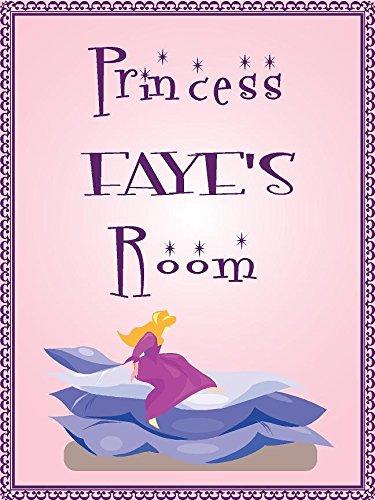 "Princess FAYE room pink design 9""x12"" plastic novelty girls room décor sign"