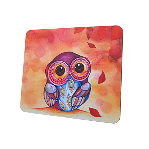 Gaming Mouse Pad Mat, 8 inch Non-Slip Rubber Mousepad , Silky Smooth Surface Edges for Computer ,Laptop& PC, 8 × 9 x 0.1 inches Rectangle, Owl (And Mouse Owl)