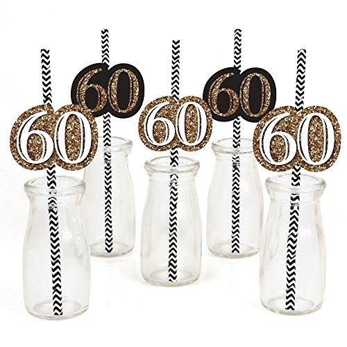 Adult 60th Birthday - Gold - Paper Straw Decor - Birthday Party Striped Decorative Straws - Set of 24 -