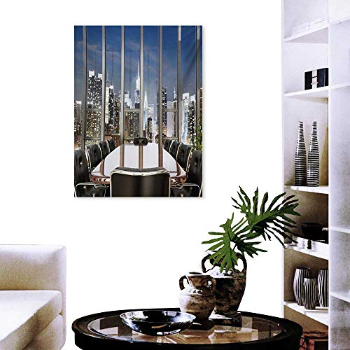 Modern Art-Canvas Prints Business Office Conference Room Table Chairs City View at Dusk Realistic Photo Print Paintings for Home Wall Office Decor 32