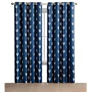 HLC.ME Arrow Printed Blackout Room Darkening Thermal Grommet Window Curtain Drape Panels for Bedroom - Set of 2 - Navy Blue - 84  inch Long