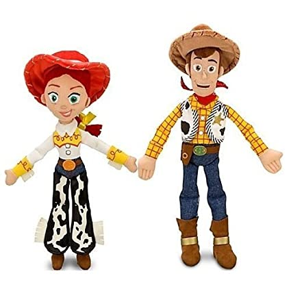"Disney Pixar Toy Story JESSIE 16"" & WOODY 18"" Plush Dolls - Buzz &"