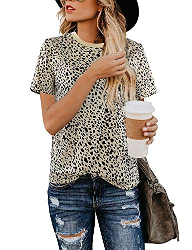 Womens Shirts Leopard Print Round Neck Cute Tops Basic Casual Short Sleeve Soft Blouse (leopard5 L)