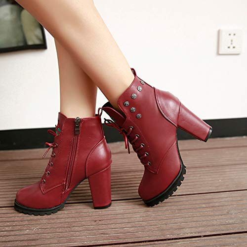 Thick Boots Retro Womens Color Wine Round Platform Toe Zipper Solid Holywin Martin Shoe Heel z6B7dx6q