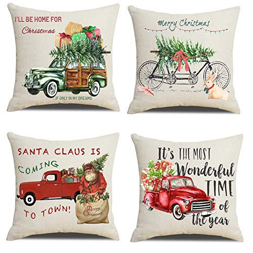 Lanpn Christmas 16x16 Throw Pillow Covers, Decorative Outdoor Farmhouse Merry Christmas Xmas Red Truck Pillow Shams Cases Slipcovers Cover Set of 4 Couch Sofa
