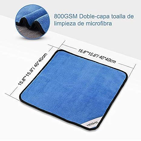 YISSVIC Toalla de Limpieza Microfibra para Coche 4 Piezas 800GSM Paños Limpieza para Hogar y Coche de Microfibra Toalla Secados Doble Capa 40x40cm: ...