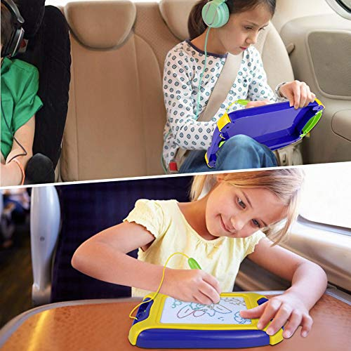 Magnetic Doodle Board, Colorful Drawing Board, Erasable Sketching Pad for Kids, Toys for Writing Painting and Learning (Travel Size)