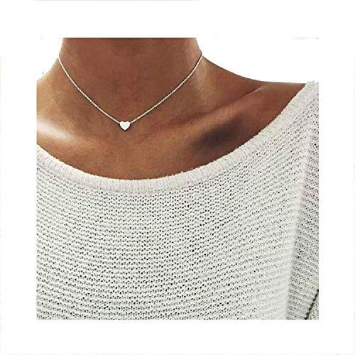 Women Love Heart Choker Silver Necklace Chain Choker Necklace Pendants Collares Femme,Silver (Draperies Discount Online)