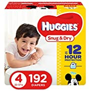 HUGGIES Snug & Dry Diapers, Size 4, 192 Count (Packaging May Vary)