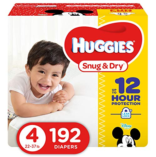 HUGGIES Snug & Dry Baby Diapers, Size 4 (fits 22-37 lbs.), 192 Count, Giant PACK  (Packaging May Vary)