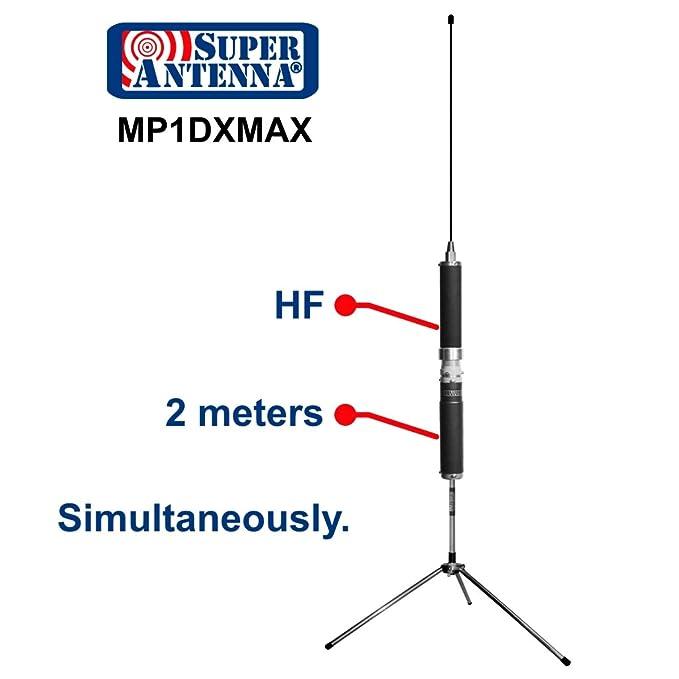 Super antena mp1dxmax Dual HF Plus 2 Meter Bandas superwhip trípode todos banda antena con la abrazadera del soporte y bolsa de Go Ham Radio amateur: ...