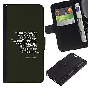 Paccase / Billetera de Cuero Caso del tirón Titular de la tarjeta Carcasa Funda para - success Edison vintage quote inspiring - Apple Iphone 6 PLUS 5.5