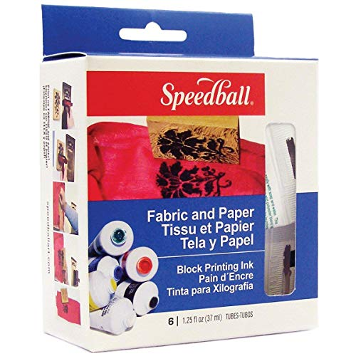 Speedball Art Products Block Printing Ink, 1.25-Ounce, Fabric and Paper, 6 Per Package (3-Units) ()