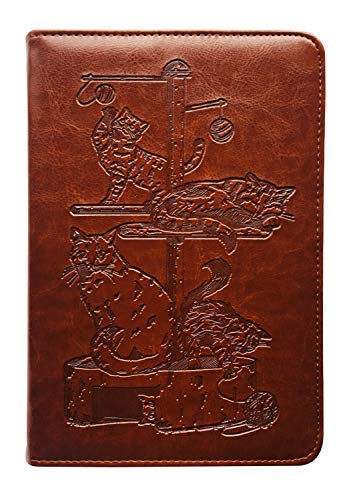 Cats Journal, Writing Journal, Lined, Personal Diary, 6x8.75 Writers Travel Notebook, Faux Leather, Refillable, Fountain Pen Safe, Sewn Binding