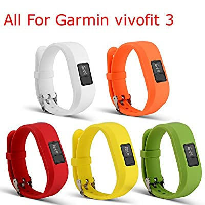 ULT-unite Colorful Replacement Strap Accessory Wristbands for Garmin Vivofit 3(No Tracker, Replacement Bands Only. Fits 6~8.5 inch Wrists)