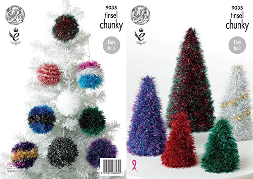 King Cole 9035 Knitting Pattern Tinsel Christmas Trees And Baubles