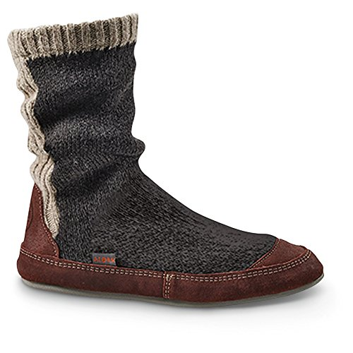 ACORN Men's Slouch Boot Slipper, Charcoal Ragg Wool, X-Large/12-13 B US - Mens Slipper Sock