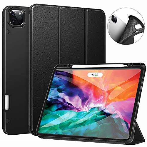 Ztotop Case for New iPad Pro 12.9 Inch 4th & 3rd Generation 2020/2018 with Pencil Holder, Full Body Protective Rugged Shockproof Cover with Auto Sleep/Wake, Support 2nd Gen Pencil Charging,Black