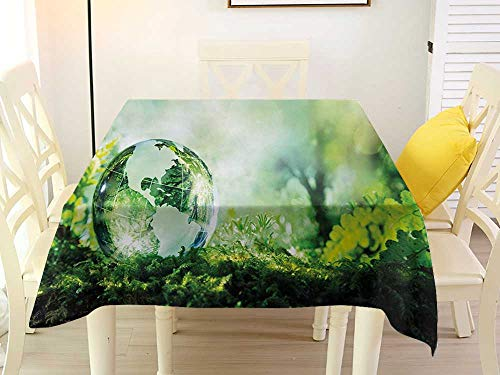 - L'sWOW Small Square Tablecloth World Globe on Fresh Green Grass Morning in Forest Natural Reflection Environment Ecology Green Yellow Quilted 54 x 54 Inch