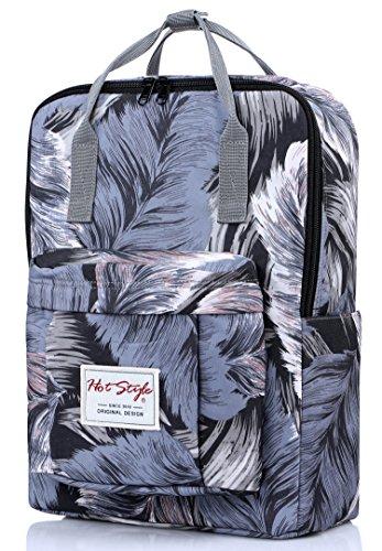 BESTIE Girls School Backpack College Laptop Book Bag Handbag, Feathers, Grey by hotstyle