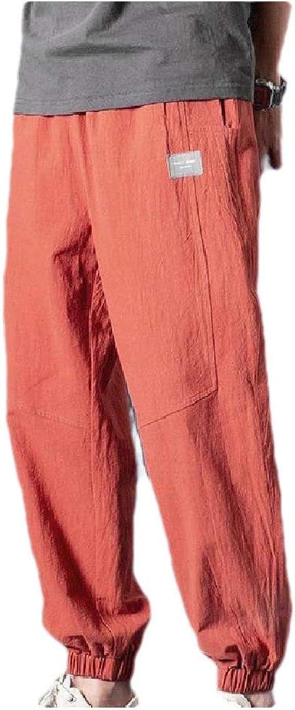 AngelSpace メンズハーレムパンツ ソリッドカラーリネンヴォーグドローストリングポケットパンツ