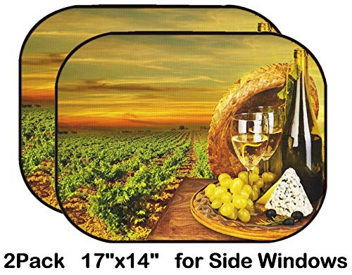 (Liili Car Sun Shade for Side Rear Window Blocks UV Ray Sunlight Heat - Protect Baby and Pet - 2 Pack Wine and Cheese Romantic Dinner Outdoor Table for Two with Vineyard View Fresh GRA)