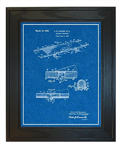 Folding Stretcher Patent Art Blueprint Print with a Border i