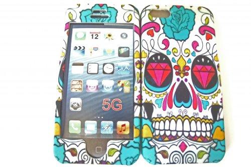 iphone 5 5S Designer Sugar Skull Totenköpfe aus Zucker-Stil Hard Hülle Case cover Vorder-und Rückseite Cover Full Case