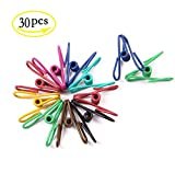 YEJI 30 Pcs Bag Clips Steel Wire Clips PVC coated Strong and Durable Multi-purpose Clothes Pins for Home Office Colorful Pin
