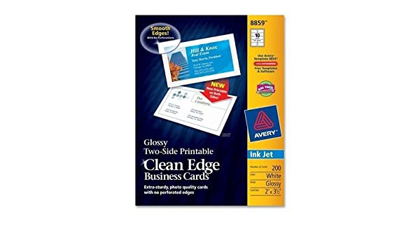 Amazon 8859 avery clean edge business card for inkjet print amazon 8859 avery clean edge business card for inkjet print 2 x 350 0 recycled content glossy 200 pack white computers accessories wajeb Gallery