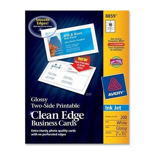 Amazon 8859 avery clean edge business card for inkjet print amazon 8859 avery clean edge business card for inkjet print 2 x 350 0 recycled content glossy 200 pack white computers accessories wajeb Image collections