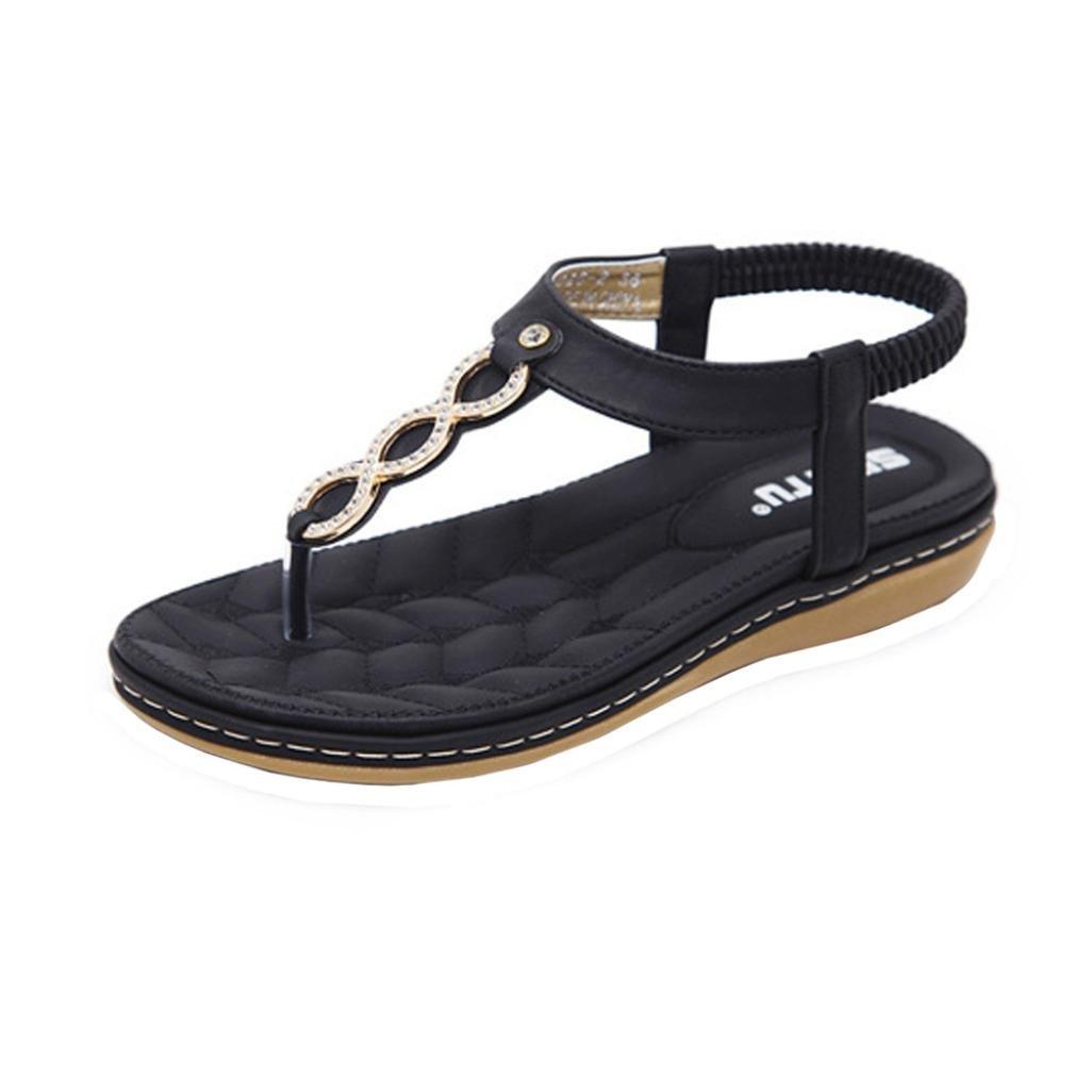 TWBB Frauen Sandalen Sommer Mode Mauml;dchen Metall Schnalle Strass Flache Outdoor SchuheEU:34|Schwarz