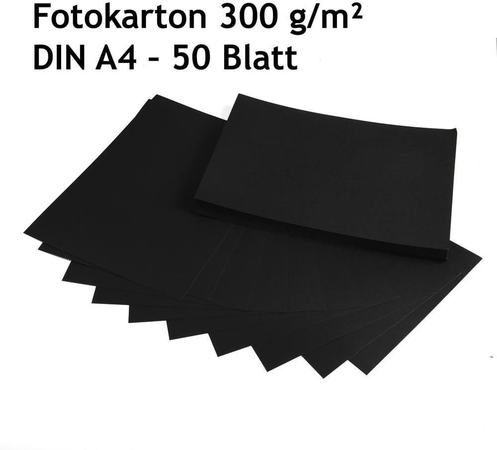 300 g//m/² Fotokarton hochwertige Qualit/ät 50 Blatt DIN A4 Bastelkarton schwarz