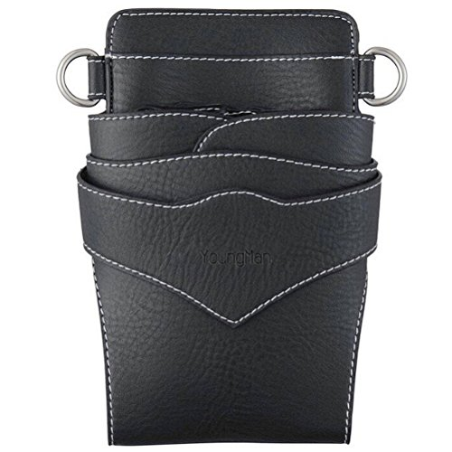 Youngman Professional Barber Shears Holster Scissors Holder Pouch Hair Dressres Pouch (Black) ()