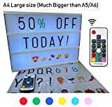 Large A4 Cinematic light box with Remote control and 211 letters and colored emojis. Light up letters for LED Message board, sign, marquee. USB and AA battery. Light up letter box By BestCircle