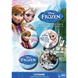 Official Disney Frozen Pin Button Badge Pack - Elsa, Anna, Olaf & Sven