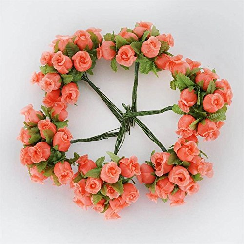 BalsaCircle 144 Coral Craft Rose Buds - Mini Flowers for DIY Wedding Birthday Party Favors Decorations Supplies Bulk