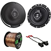 Car Speaker Package Of 2x Kenwood KFC1795PS 660-Watt 6-3/4 Inch Flush Mount Black Coaxial Speakers - Bundle Combo With Speaker Adaptors For select 1988-up GM vehicles + Enrock 50Ft 16G Speaker Wire