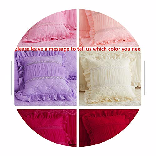 Bedding Set Princess Style Thick Cotton Bedspreads and Pillowcases Single Queen King Size Bed Cover for Girl Room Decorative,2pcs Cushion Cover,200x220 bedspreads ()