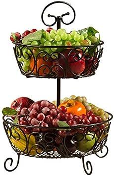 Inicio Moda Simplicidad Cocina Cesta de Fruta de Hierro Forjado, Decoración de la Sala Frutero 2 Capas, Bandeja de Aperitivos, C-F