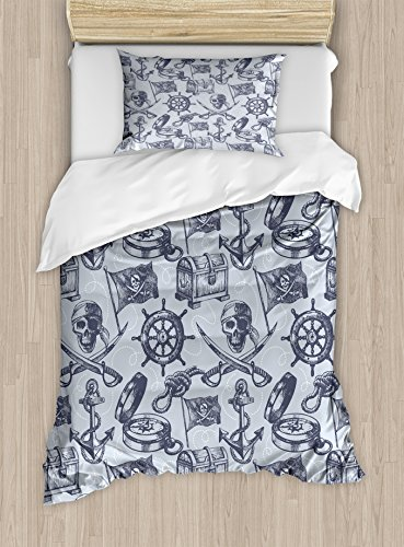 Pirate Duvet Cover Set by Ambesonne, Nautical Symbols Anchor Steering Wheel Pirate Skull Crossed Swords Pattern, 2 Piece Bedding Set with 1 Pillow Sham, Twin / Twin XL Size, Grey Black White