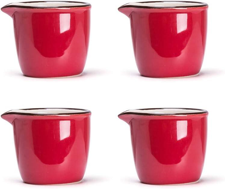 MDZF SWEET HOME Set of 4 Ceramic Creamer Jugs Mini Sauce Pitcher Milk Creamer Coffee Syrup Jar Server Dipping Bowls 2.1 Oz, Red