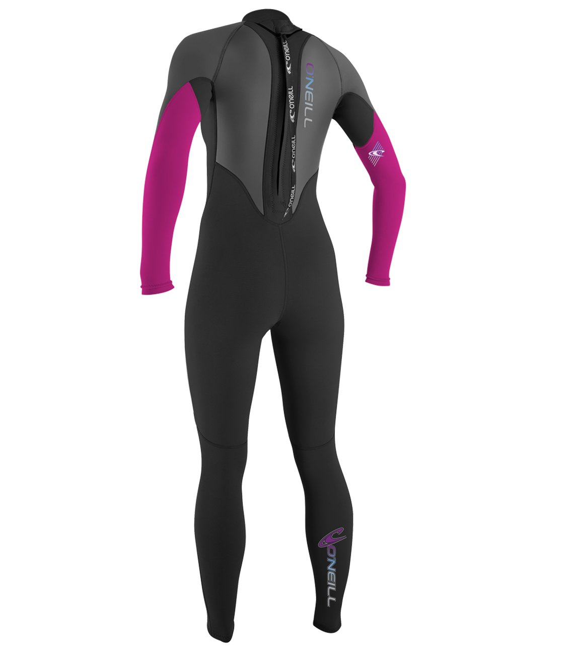 O'Neill   Women's Reactor 3/2mm Back Zip Full Wetsuit,Black/Graphite/Berry,4 by O'Neill Wetsuits (Image #2)