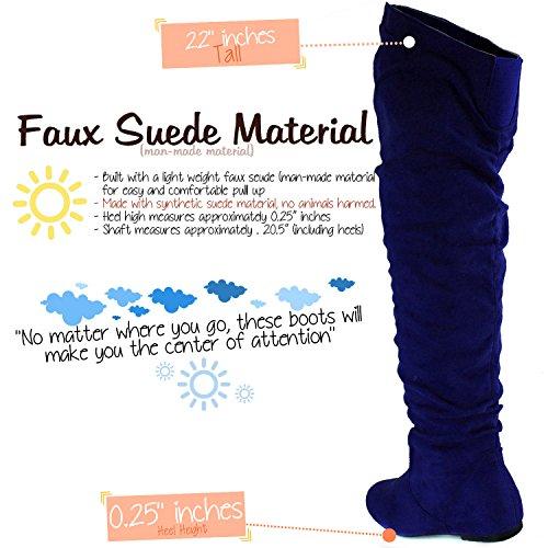 DailyShoes Damenmode-Hi Over-the-Knee Oberschenkel Hohe flache Slouchly Welle Low Heel Stiefel Blaue Sv