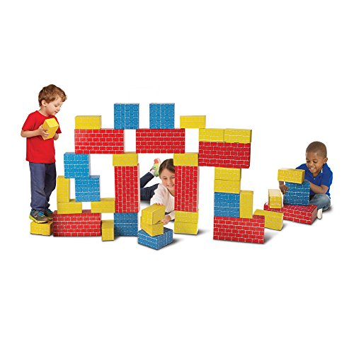 Melissa & Doug Jumbo Extra-Thick Cardboard Building Blocks - 40 Blocks in 3 (Jumbo Cardboard Building Blocks)