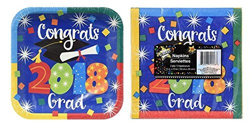 Graduation Party Package Class Of 2018 For 14 Guests Includes Plates & Napkins - 34 ct